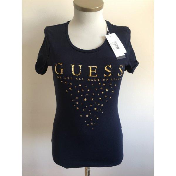 Guess Camiseta estampada color oro-azul oscuro Algodón