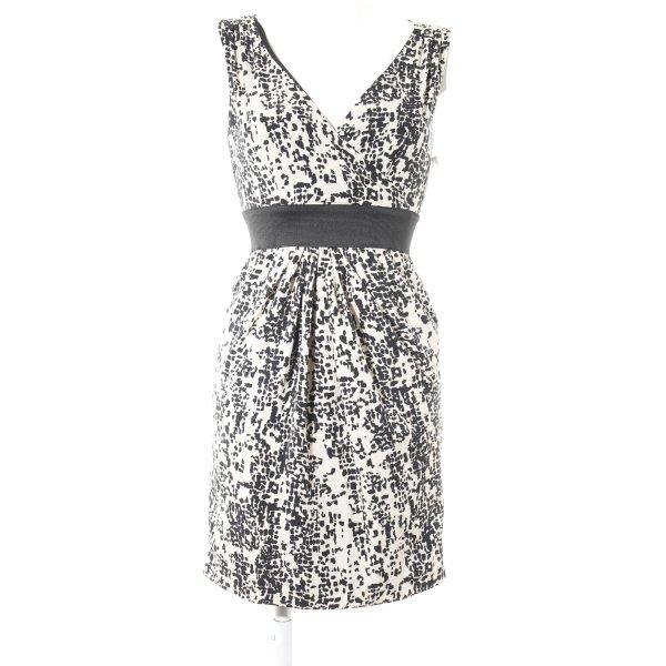 H&M A-Linien Kleid schwarz-creme abstraktes Muster Business-Look