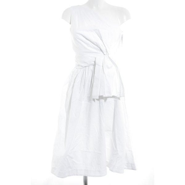 H&M A-Linien Kleid weiß Zierknoten