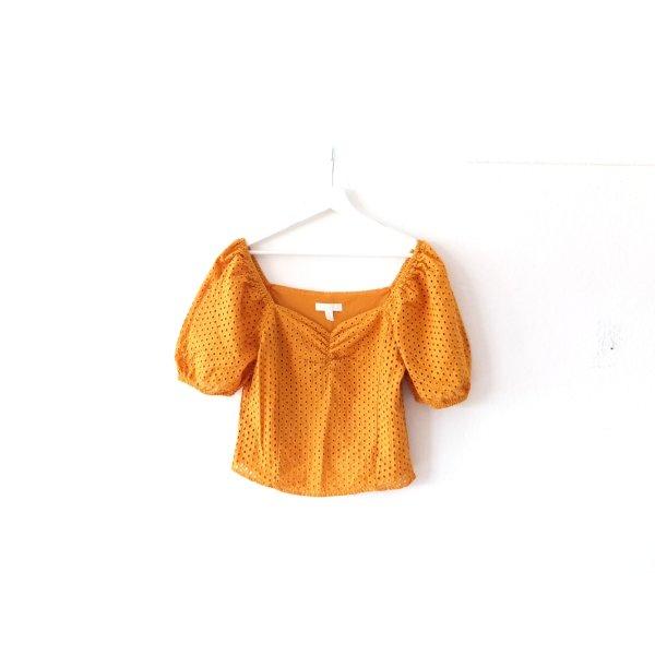 H&M Bluse Gr. 40 gelb ocker Puffärmel Lochmuster