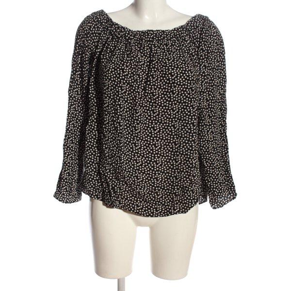 H&M Carmen-Bluse schwarz-weiß Allover-Druck Casual-Look