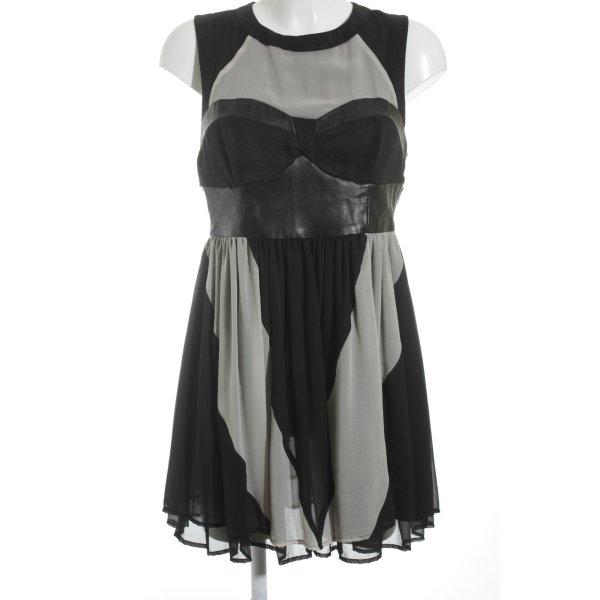 H&M Chiffonkleid schwarz-creme Elegant