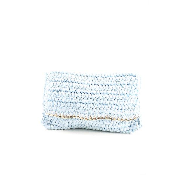 H&M Clutch blau-goldfarben Elegant