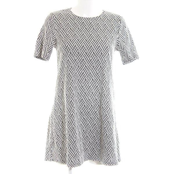 H&M Divided A-Linien Kleid weiß-hellgrau Allover-Druck Business-Look