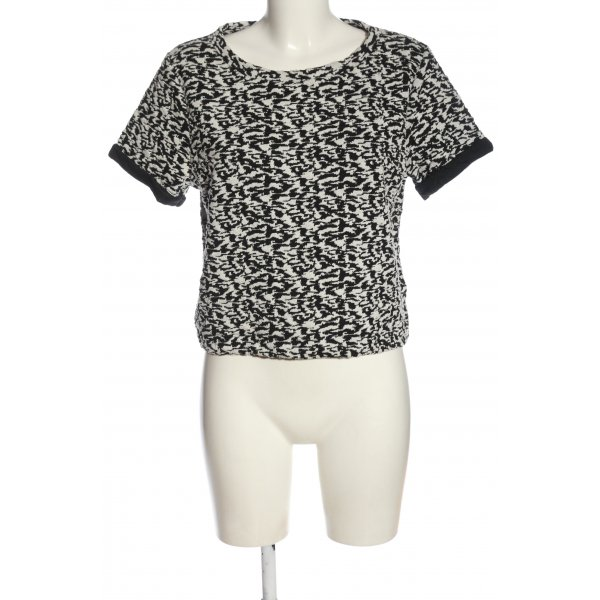 H&M Divided Kurzarm-Bluse schwarz-weiß abstraktes Muster Casual-Look
