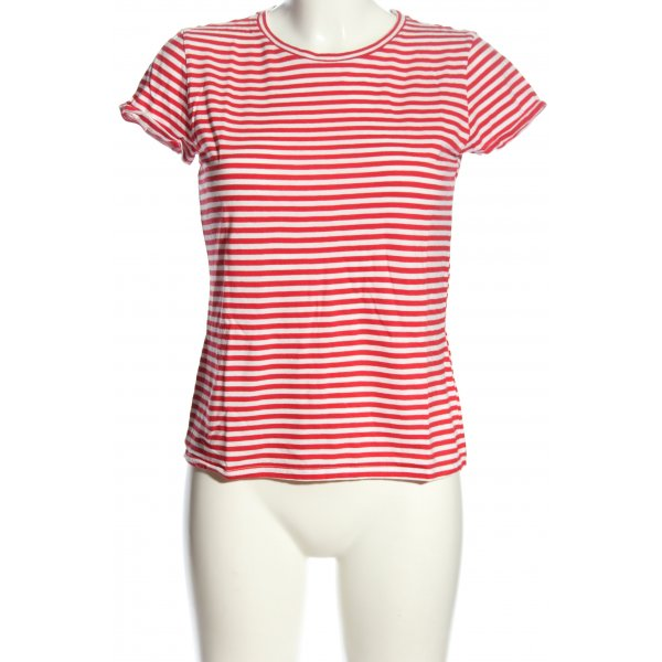 H&M Divided Ringelshirt rot-weiß Allover-Druck Casual-Look