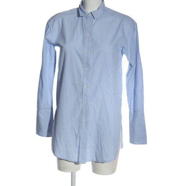 H&M Hemd-Bluse blau-weiß Streifenmuster Business-Look
