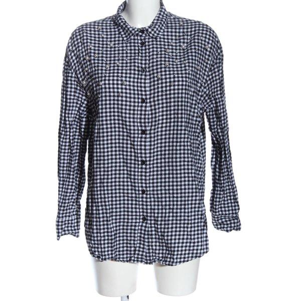 H&M Holzfällerhemd schwarz-weiß Allover-Druck Casual-Look