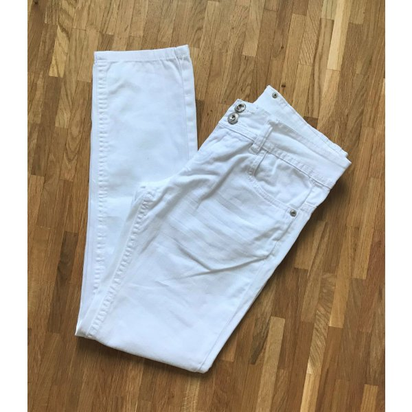 H&M Jeans Weiß XS 34 Slim Fit Skinny Hose Röhrenhose Chino Low Waist Ankle Denim