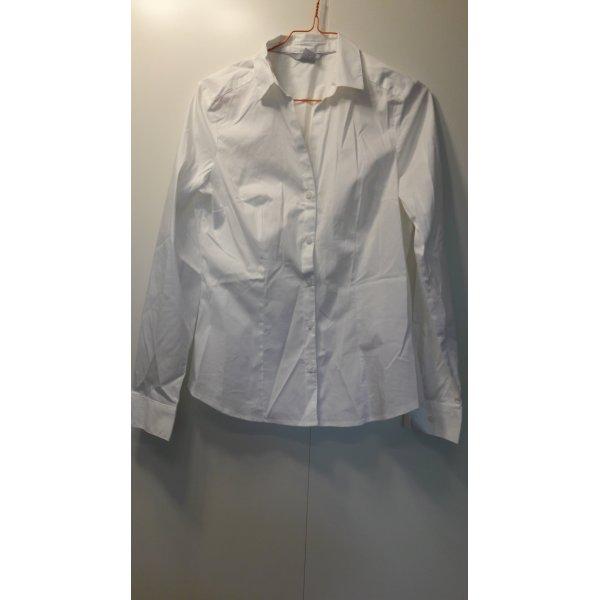 H&M klassische Damen Hemdbluse weiß Stretch Gr. 38