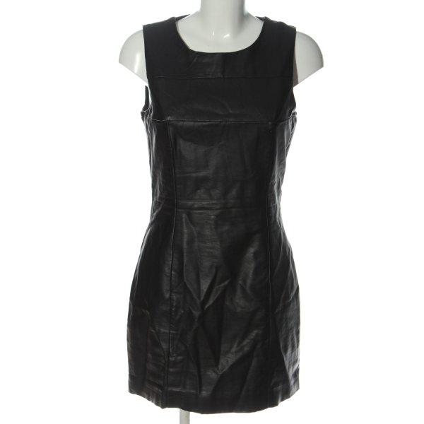 H&M Kunstlederkleid schwarz Glanz-Optik