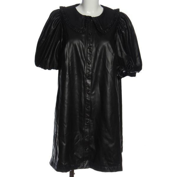 H&M Kunstlederkleid schwarz Elegant