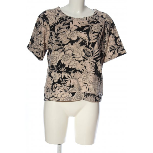 H&M Kurzarm-Bluse schwarz-creme abstraktes Muster Casual-Look
