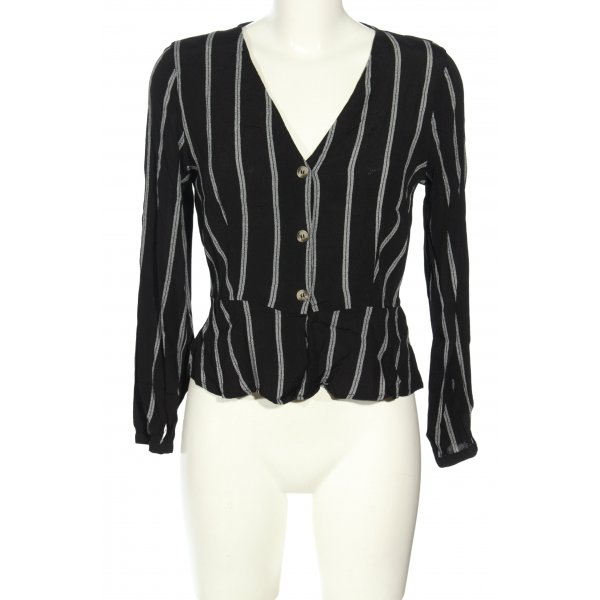 H&M Langarm-Bluse schwarz-weiß Streifenmuster Casual-Look