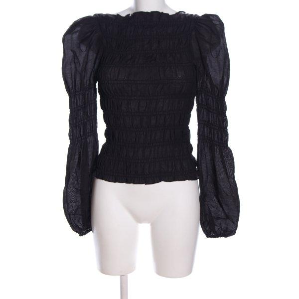 H&M Langarm-Bluse schwarz Steppmuster Business-Look
