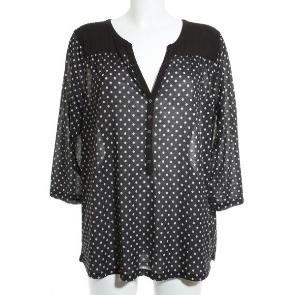 H&M Long Sleeve Blouse black-white spot pattern '80s style