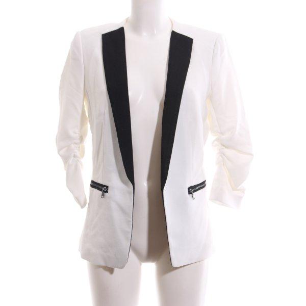 H&M Long-Blazer weiß-schwarz Business-Look