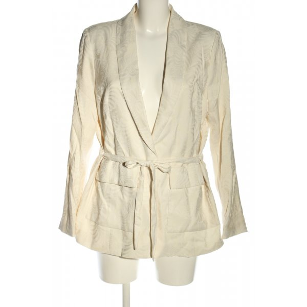 H&M Long-Blazer wollweiß Allover-Druck Casual-Look