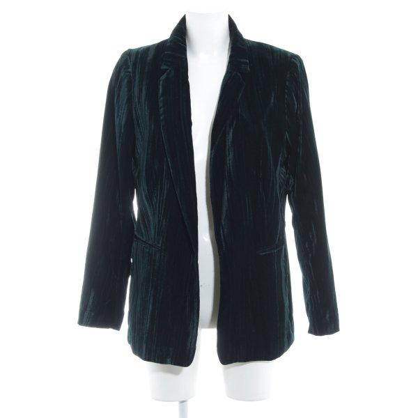 H&M Long-Blazer dunkelgrün-schwarz Business-Look