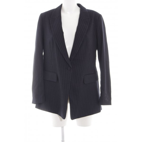H&M Long-Blazer schwarz Streifenmuster Business-Look