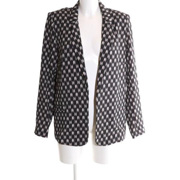 H&M Long-Blazer schwarz-weiß Allover-Druck Elegant