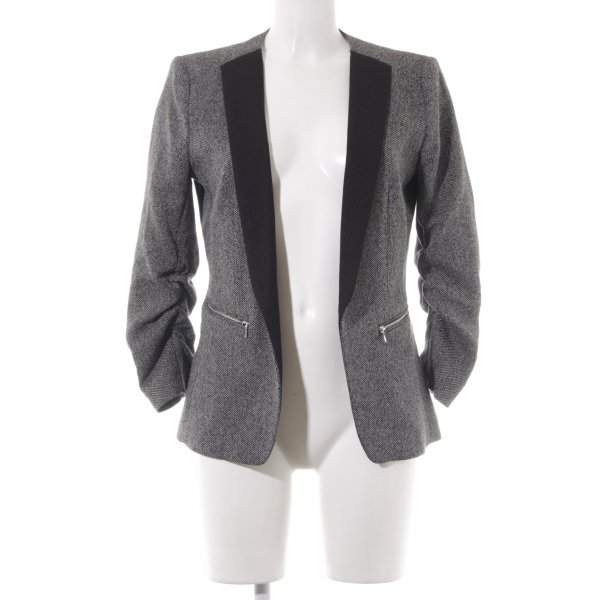 H&M Long-Blazer schwarz-weiß Zackenmuster Business-Look