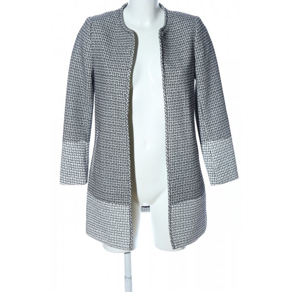 H&M Long-Blazer weiß-schwarz Allover-Druck Business-Look