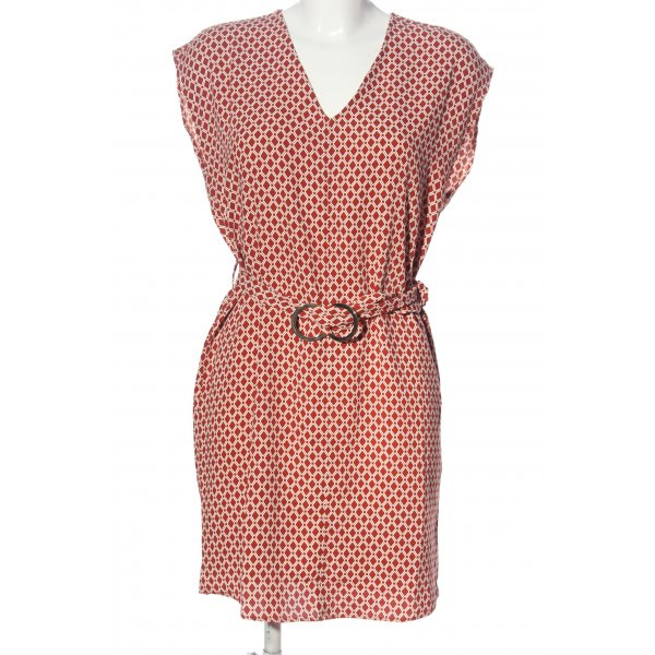 H&M Minikleid weiß-rot Allover-Druck Business-Look