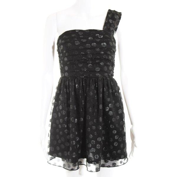 H&M One-Shoulder-Kleid schwarz-silberfarben Punktemuster Party-Look
