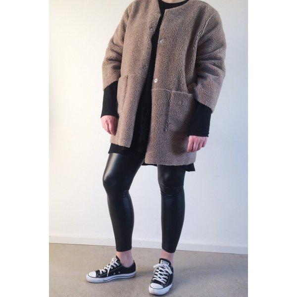 H&M oversize Shearling Jacke Beige 40 42 M L  Fell Winterjacke Blogger Trend wendejacke