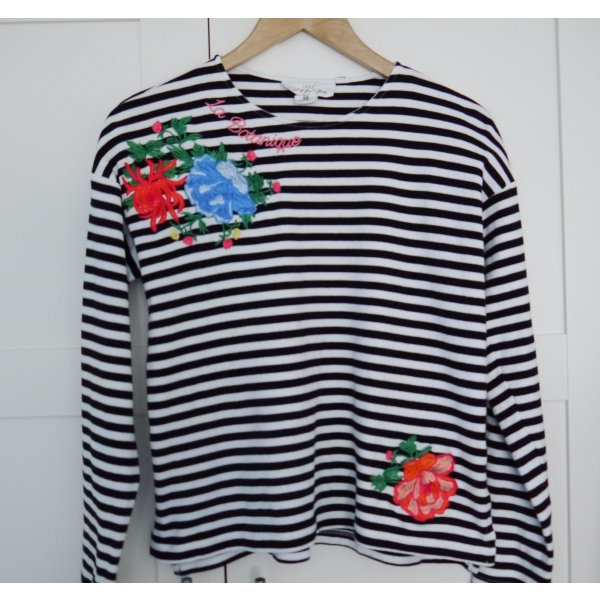 H&M Gestreept shirt zwart-wit Katoen