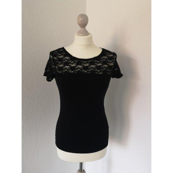 H&M Spitzenshirt schwarz Gr. S Shirt mit Spitze edel