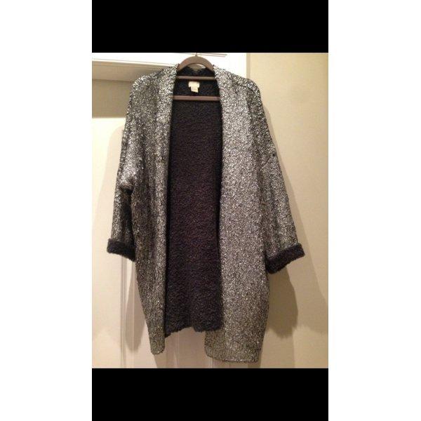 H&M Trend Cardigan silberbeschichtet Gr. 36 Glamour Glitzer