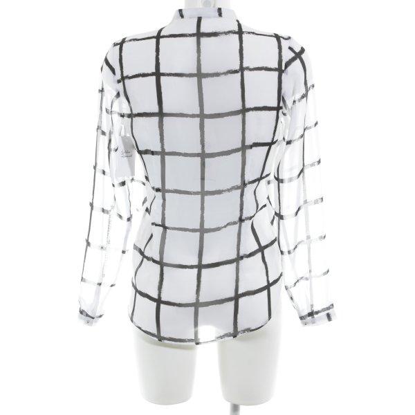 H&M Tunikabluse weiß-schwarz Karomuster Casual-Look