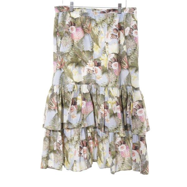 H&M Falda con volantes estampado floral estilo romántico