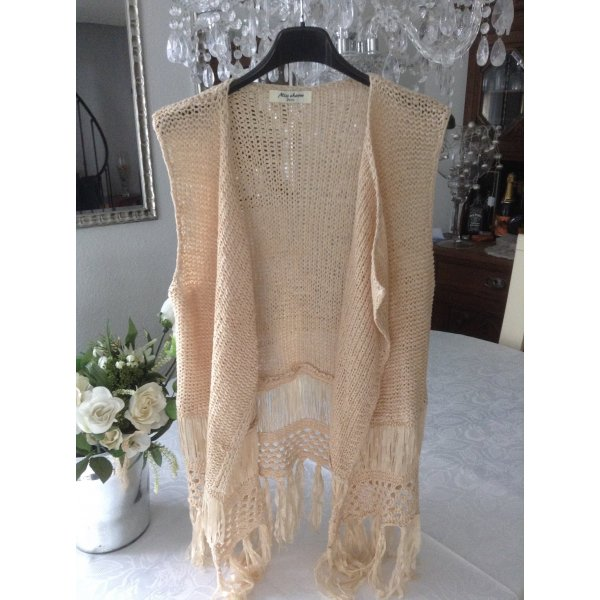 Cardigan all'uncinetto beige