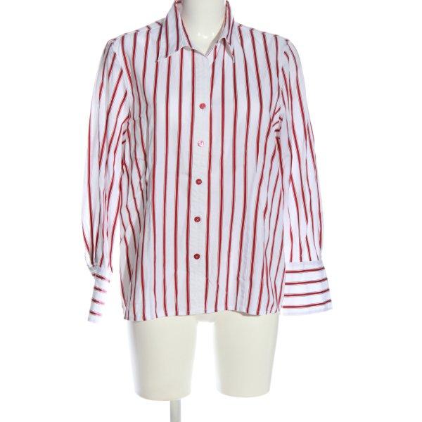 Hämmerle Langarmhemd weiß-rot Streifenmuster Casual-Look