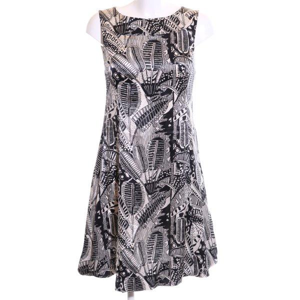 Hallhuber Donna A-Linien Kleid weiß-schwarz Blumenmuster Casual-Look