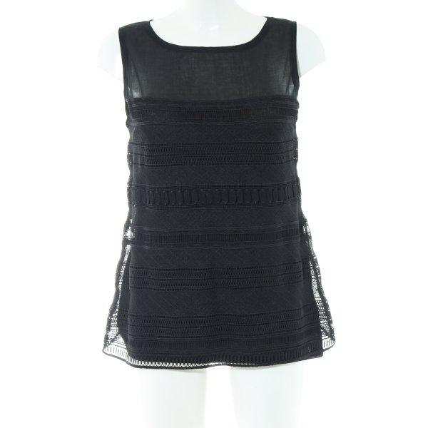 Hallhuber Donna ärmellose Bluse schwarz Casual-Look