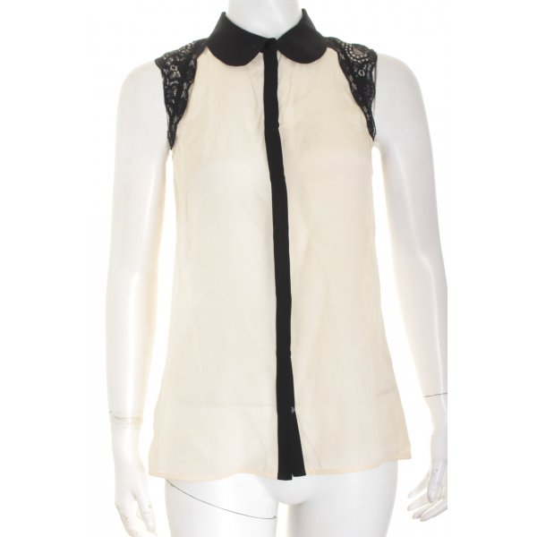 Hallhuber Donna ärmellose Bluse creme-schwarz Eleganz-Look