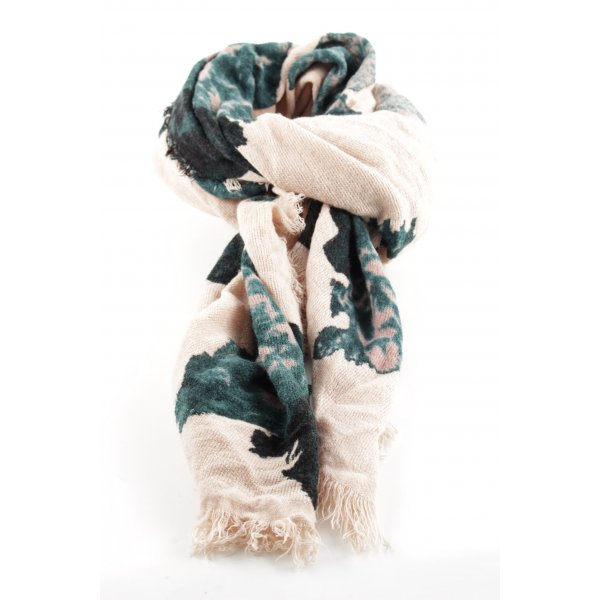 Hallhuber Fringed Scarf cream-green abstract pattern casual look