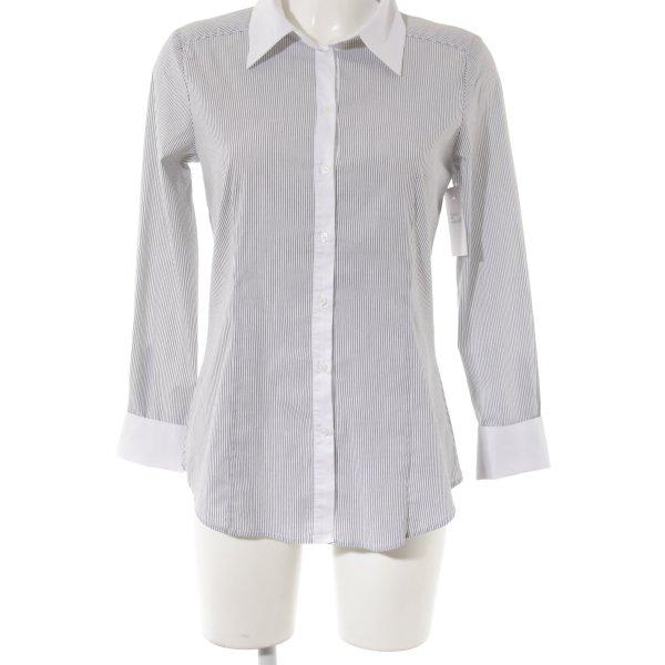 Hallhuber Langarm-Bluse schwarz-weiß Streifenmuster Casual-Look