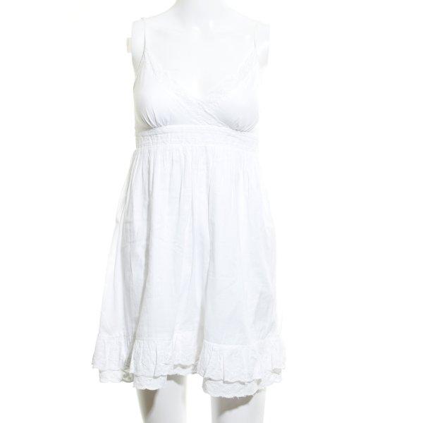 Hallhuber Minikleid weiß Spitzenbesatz