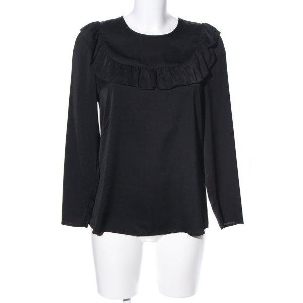 Hallhuber Rüschen-Bluse schwarz Casual-Look