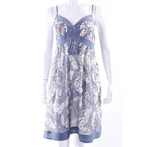 Hallhuber Trägerkleid blau gemustert
