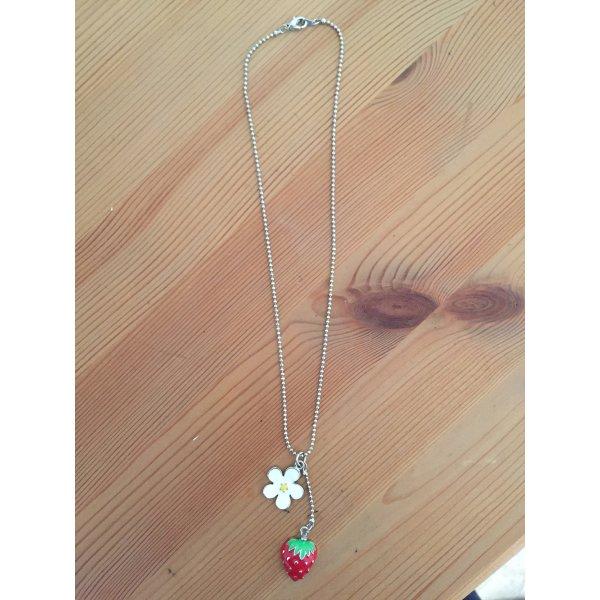Halskette Kette Erdbeere Blüte