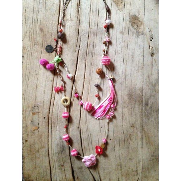 Halskette Kette rosa DIY Kirsche Münze Blume Tassle Anhänger Charms
