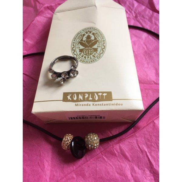 Halskette mit 3 Anhängern aus Silber bzw. Stein + 1 Ring von Konplott