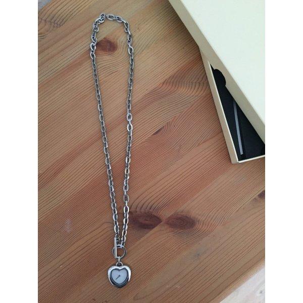 Halskette Uhr Kette Herz Silber – Wie Neu!