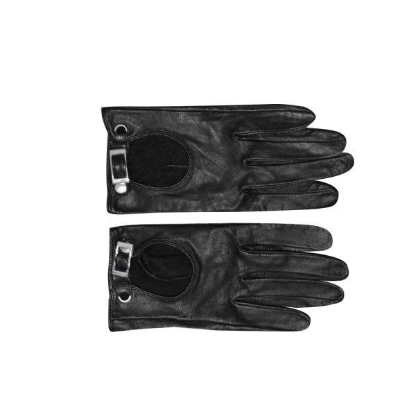 Handschuhe aus Leder in Schwarz, Gr. 7